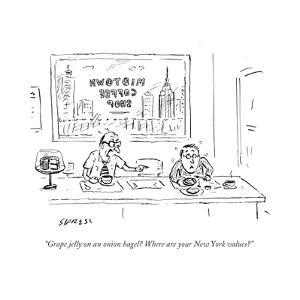 """""""Grape jelly on an onion bagel? Where are your New York values?"""" - Cartoon by David Sipress"""