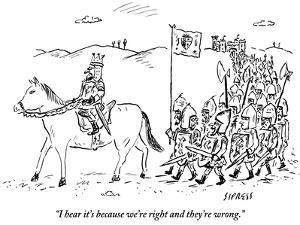 """I hear it's because we're right and they're wrong."" - New Yorker Cartoon by David Sipress"