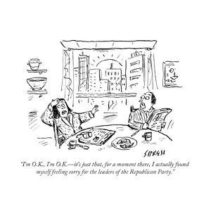 """I'm O.K., I'm O.K.?it's just that, for a moment there, I actually found m?"" - Cartoon by David Sipress"