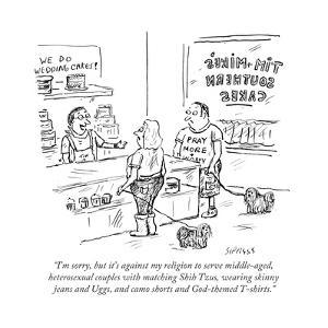 """""""I'm sorry, but it's against my religion to serve middle-aged, heterosexuaÉ"""" - Cartoon by David Sipress"""