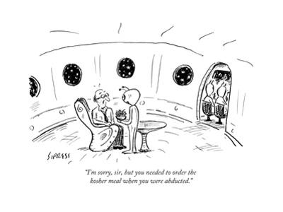 """I'm sorry, sir, but you needed to order the kosher meal when you were abd..."" - New Yorker Cartoon by David Sipress"