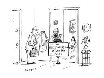 "Man comes home from work to find sign in living room doorway reading ""No E... - New Yorker Cartoon by David Sipress"