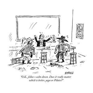 """""""O.K., fellas?calm down. Does it really matter which is better, yoga or Pi?"""" - New Yorker Cartoon by David Sipress"""