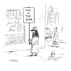 Soothsayer wearing a Boston red sox cap, carrying a sign that reads: 'This? - New Yorker Cartoon by David Sipress