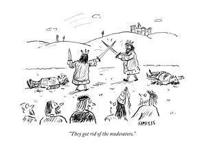"""They got rid of the moderators."" - Cartoon by David Sipress"