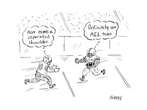 Two football players run toward each other thinking of their impending inj... - New Yorker Cartoon by David Sipress