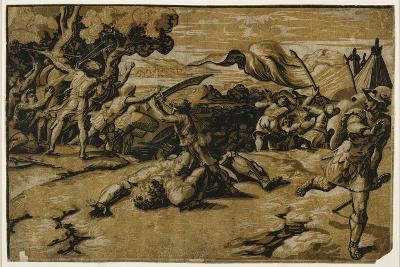 David Slaying Goliath, C. 1518-Ugo da Carpi-Giclee Print