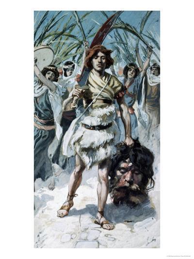 David Takes the Head of Goliath to Jerusalem-James Tissot-Giclee Print