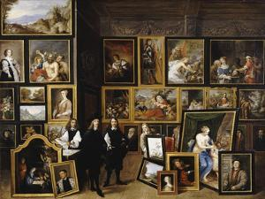 Archduke Leopold Wilhelm in His Picture Gallery, with the Artist and Other Figures by David Teniers the Younger