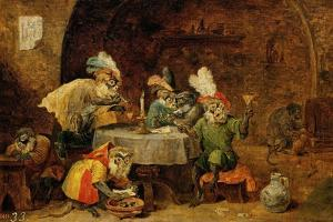Monkeys Drinking And Smoking, 17th Century by David Teniers the Younger