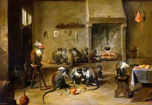 Monkeys in a Kitchen, circa 1645 by David Teniers the Younger