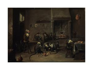 Monkeys in the Kitchen, 1640S by David Teniers the Younger