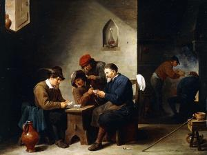 Peasants at Cards in a Cottage, C.1644-45 by David Teniers the Younger