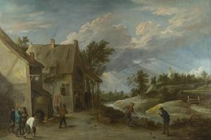 Peasants Playing Bowls Outside a Village Inn, C. 1660 by David Teniers the Younger