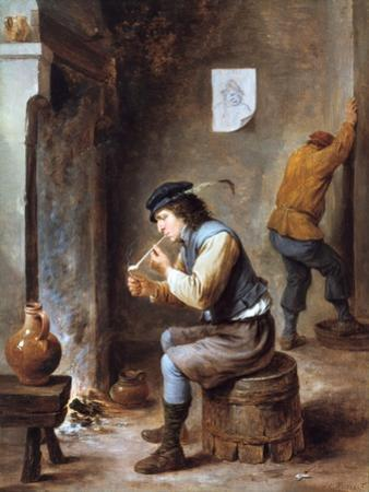 Smoker in Front of a Fire, 17th Century