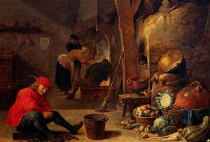 The Kitchen by David Teniers the Younger