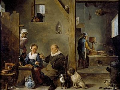 A Distillery with an Elderly Man Buying Gin from a Woman, C. 1640-49