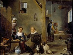 A Distillery with an Elderly Man Buying Gin from a Woman, C. 1640-49 by David the Younger Teniers