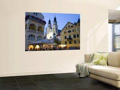 Alfresco Dining in Piazza Del Duomo Beneath Illuminated Bressanone (Brixen) Cathedral