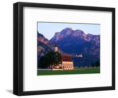 Church of St. Coloman with Neuschwanstein Castle in Background, Schwangau, Bavaria, Germany
