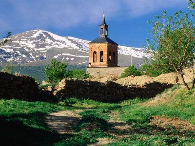 Country Path to Village Church Beneath Snow Capped Sierra Nevada, La Calahorra, Andalucia, Spain