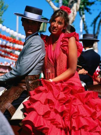 Feria de Abril Horseman with Girl in Traditional Dress, Sevilla, Andalucia, Spain