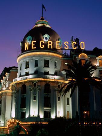 Hotel Negresco at Night, Nice, Provence-Alpes-Cote d'Azur, France by David Tomlinson