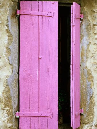 Pink Wooden Shutters, Minerve, Languedoc-Roussillon, France