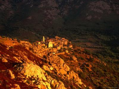 Village at Sunset, Montemaggiore, Corsica, France