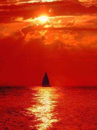 Sailboat at Dawn, Lake Huron, Mackinaw, Michigan, USA