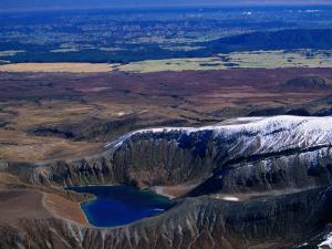 Aerial of Upper Tama Volcanic Lake, Tongariro National Park, Manawatu-Wanganui, New Zealand by David Wall