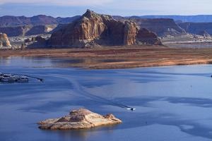 Arizona, Boats on Lake Powell at Wahweap, Far Shoreline Is in Utah by David Wall