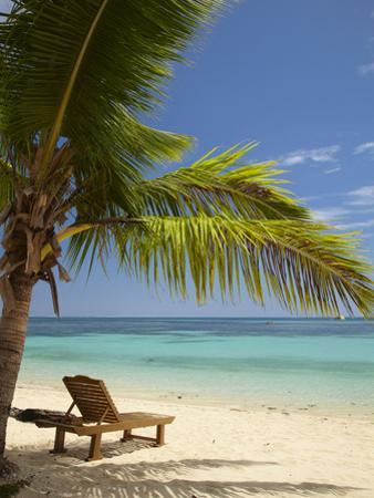 Beach and Lounger, Plantation Island Resort, Malolo Lailai Island, Mamanuca Islands, Fiji by David Wall