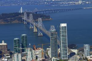 California, Aerial of Downtown San Francisco and Bridges by David Wall