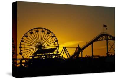 Los Angeles, Santa Monica, Ferris Wheel and Roller Coaster at Sunset