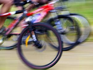 Mountain Bike Race, Bannockburn, near Cromwell, Central Otago, South Island, New Zealand by David Wall