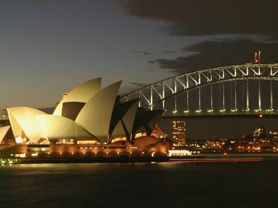 Sydney Opera House and Harbor Bridge at Night, Sydney, Australia