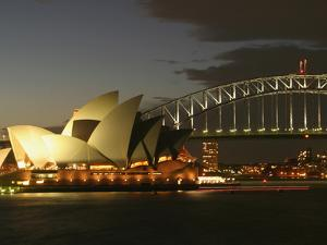 Sydney Opera House and Harbor Bridge at Night, Sydney, Australia by David Wall