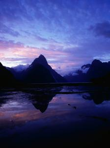 Twilight on Milford Sound, Fiordland National Park, New Zealand by David Wall