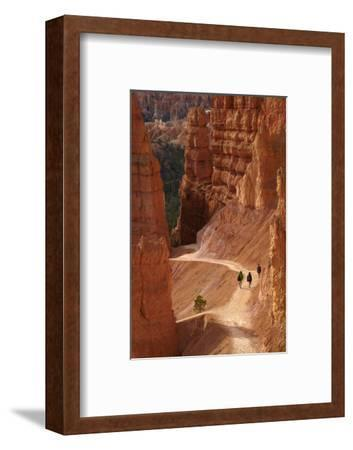 Utah, Bryce Canyon National Park, Hikers on Navajo Loop Trail Through Hoodoos
