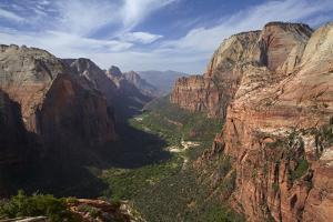 Utah, Zion National Park, View from Top of Angels Landing into Zion Canyon by David Wall