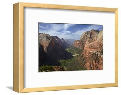 Utah, Zion National Park, View from Top of Angels Landing into Zion Canyon