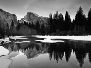 Half Dome Above River and Winter Snow, Yosemite National Park, California, USA by David Welling
