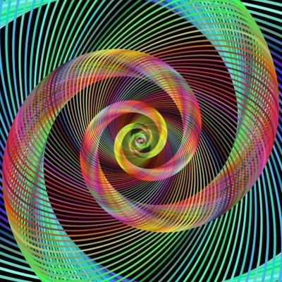 Multicolored Spiral Fractal Design Background by David Zydd