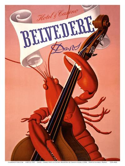 Davos, Switzerland - Grand Hotel & Casino Belvédère - Lobster Musician playing a Cello-Charles Kuhn-Art Print