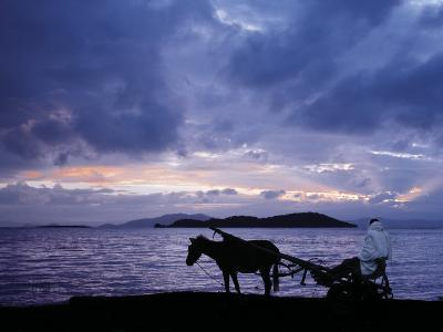 Dawn at Lake Ziway, Central Ethiopia, with the Silhouette of a Horse-Drawn Buggy-Nigel Pavitt-Photographic Print