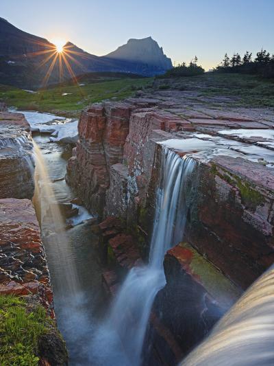 Dawn at Triple Falls, Glacier National Park, Wyoming, USA-Geoffrey Schmid-Photographic Print