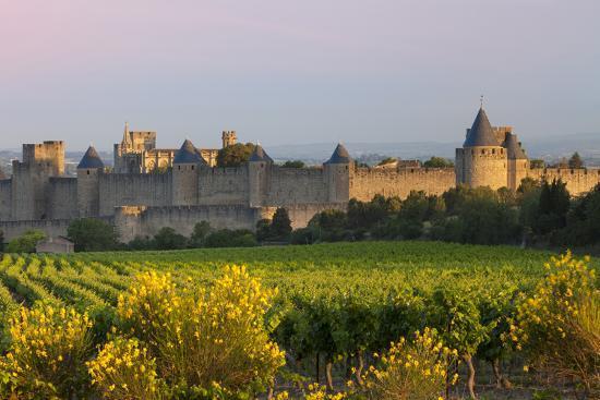 Dawn, Fortification, La Cite Carcassonne, Languedoc-Roussillon, France-Brian Jannsen-Photographic Print