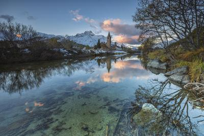 Dawn Illuminates Snowy Peaks and Bell Tower Reflected in Lake Sils, Switzerland-Roberto Moiola-Photographic Print