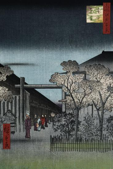 Dawn in the Yoshiwara', from the Series 'One Hundred Views of Famous Places in Edo'-Utagawa Hiroshige-Giclee Print